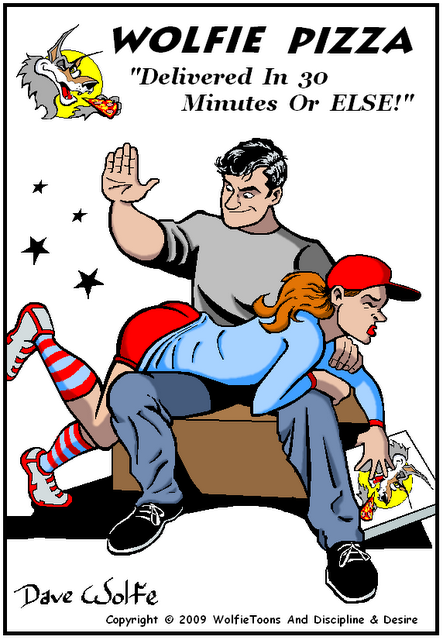 Pizza delivery girl spanked