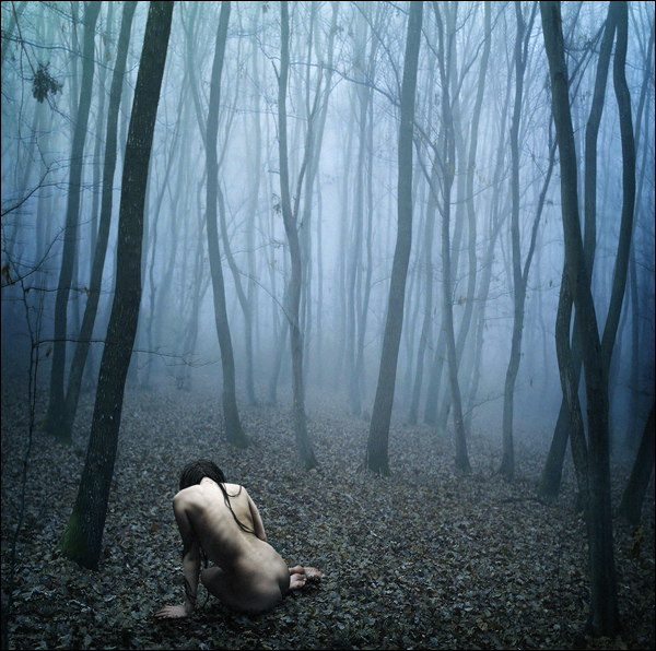 Naked woman in a forest